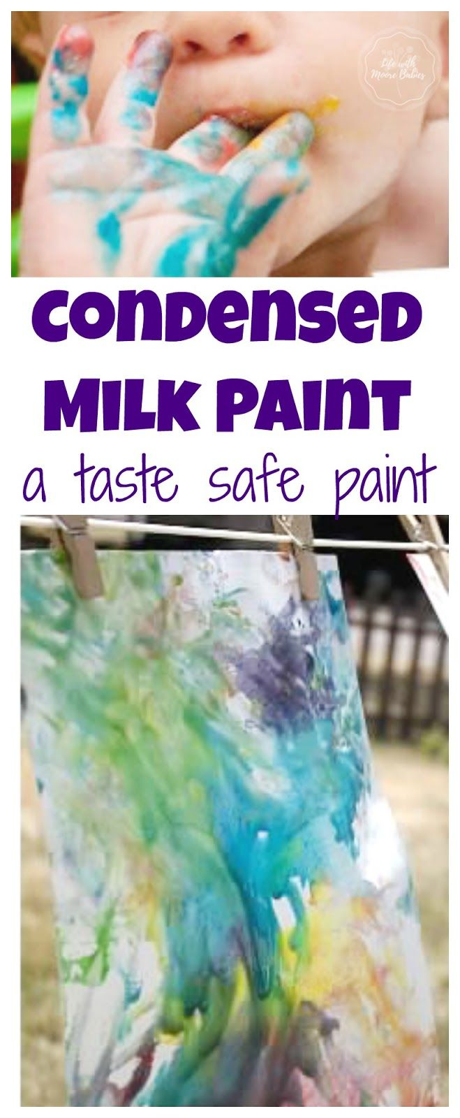 Taste safe art for kids of all ages using condensed milk! Creates a lovely, shiny effect when dry.