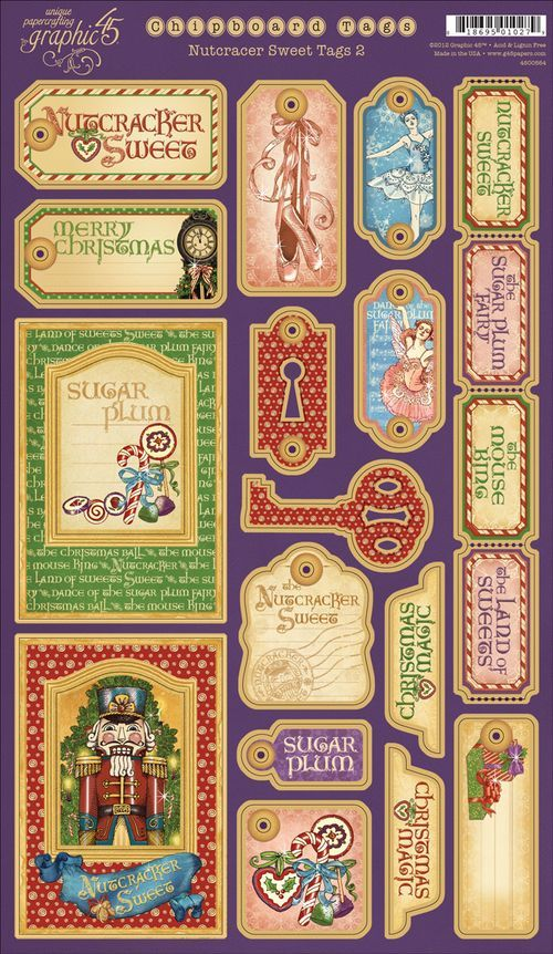 These are our Chipboards Tags 2 from our newest collection, Nutcracker Sweet! In stores early September #graphic45 #CHA #newrelease