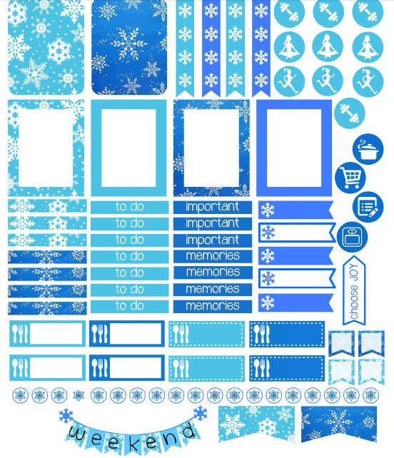 FREE Printable Planner Stickers to Organize Your Week | Snowflake Stickers