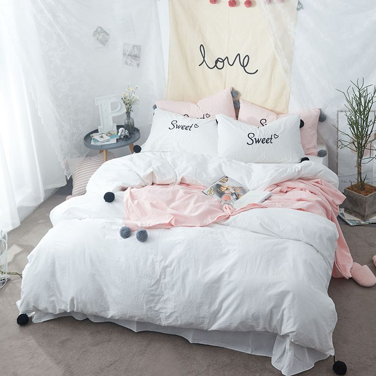 {usd140-160}Solid White Bedding Sets Twin Size Queen King 100% Washed Cotton Cute Balls Decorated Suitable for Teenager and Adults