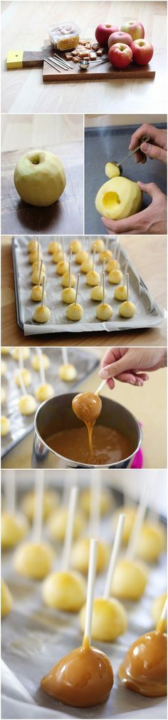 HA! Totally dangerous, would eat 'em all up --> DIY Mini Caramel Apples #appetizer #party #movienight