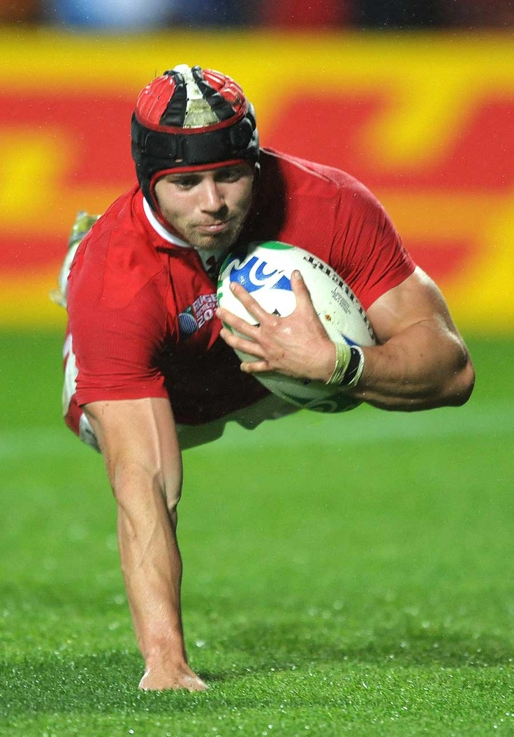 Wales' Leigh Halfpenny crosses the try-line, Fiji v Wales, Rugby World Cup, Waikato Stadium, Taranaki, New Zealand, October 2, 2011