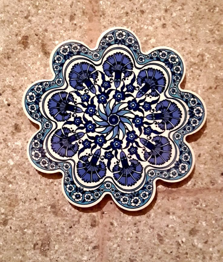 Blue and White Hand Made Ceramic Trivet / Hot Plate / by Turqu50