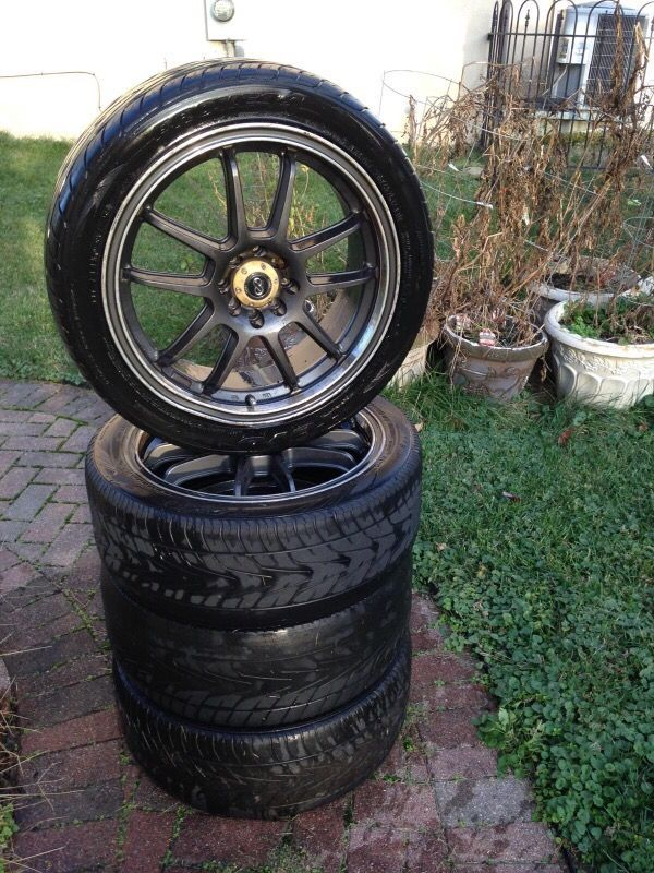 """RIMS ONLY Condition - used - very good *tires are worn. No tread.  Size:17"""" 4 lug mount  Includes: 4 rims with tires still mounted.  One rim lip is a tiny bit bent. Had it checked a couple years ago. Nothing  affects tire pressure.   Fit on a Honda Civic 2-door.  *if you need help with removal of tires and mounting of new, I can refer you to a local shop in town.  Hurry these rims won't last long!!"""
