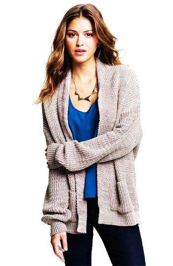 Gray oversized cardigan sweater