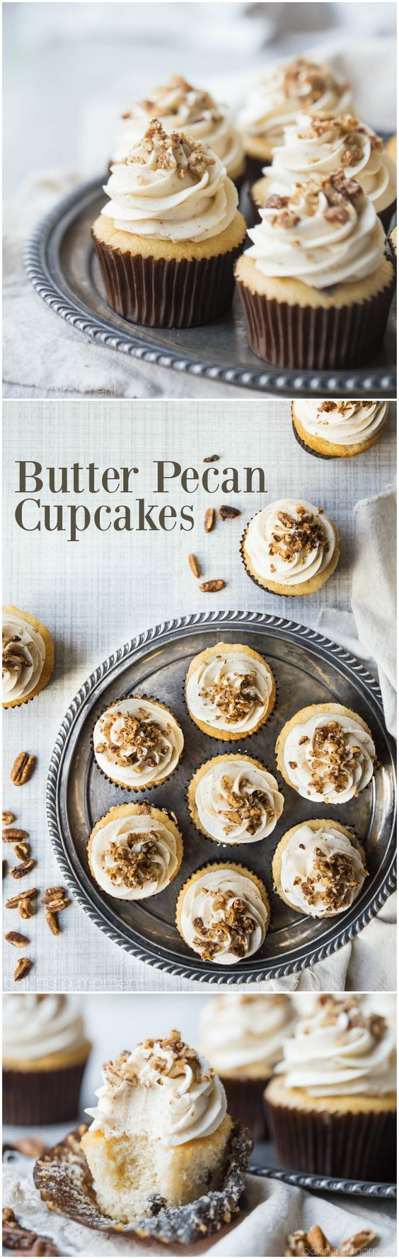 Butter Pecan Cupcakes: all the sweet, buttery taste of that classic ice cream flavor, in a cupcake! Perfect with coffee or a glass of milk. #butter #pecan #cupcake #dessert #food via @bakingamoment