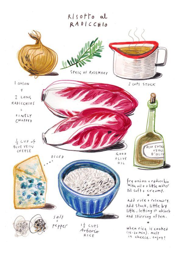 risotto al radicchio - illustrated recipes - felicita sala