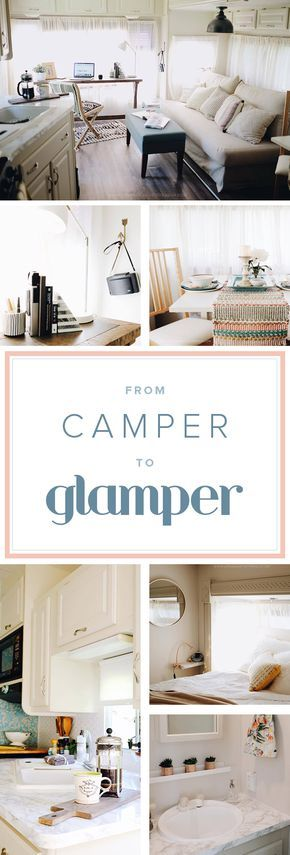 Take a peek inside this glamper if you're looking for interior decorating ideas. The before and after makeover of this camper turned it into a shabby chic glamper.