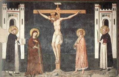 CAVALLINI, Pietro Crucifixion  c. 1308 Fresco San Domenico Maggiore, Naples  The Roman school of the second half of the thirteenth century was also crucial to the development of Giotto's work and Italian painting in general.