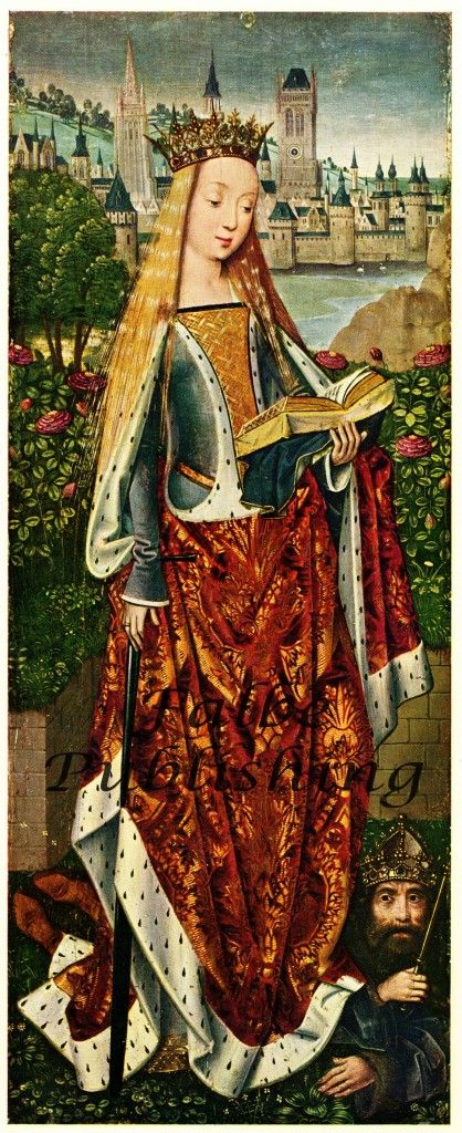 Beautiful Medieval portrait of Saint Catherine by Master of the Saint Lucy Legend