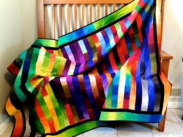 Modern Bright Quilted Lap Throw , Cottage Chic Ombre Fabrics , Rainbow Colors…