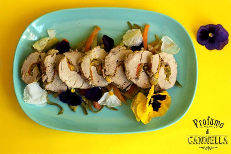 #arrosto di filetto di maiale con fiori di zucca e verdurine #primavera #secondi #carne #fiori