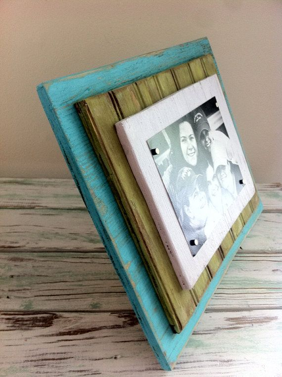 5 x 7 Distressed Handmade Magnetic Picture Frame Shabby Chic, Cottage, Beach House, Home Decor - Bahamas Blue, Lime Green & White