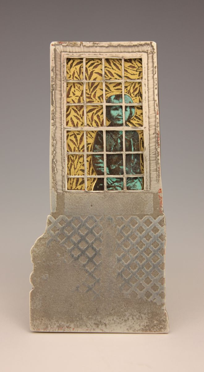 """""""Girl in Window"""", etched sterling silver, bronze and brass, 24k gold leaf, patina."""