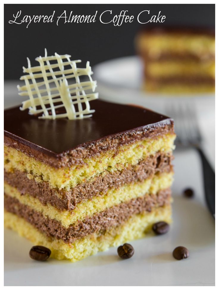 Almond spongecake with layers of chocolate espresso filling and a velvety chocolate ganache on top.