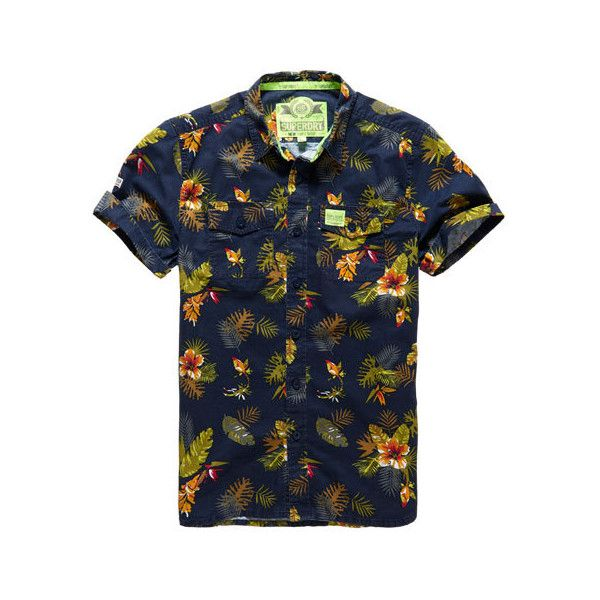 Superdry Slimline Washbasket Hawaiian Shirt (550 SEK) ❤ liked on Polyvore featuring men's fashion, men's clothing, men's shirts, men's casual shirts, men, tops and navy