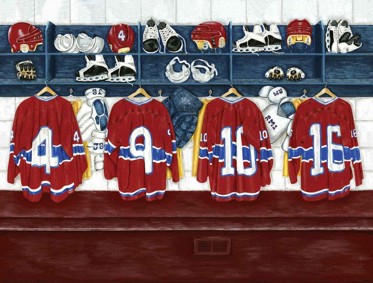 """The Hockey Player's Room. Mural """"Locker Room"""". A Wallpaper Mural by Muralunique.com. This is an original painting from Ruth Baker."""