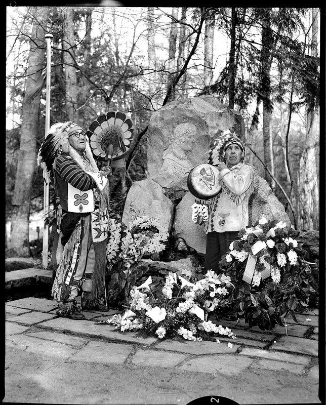Mathias Joe and Dominic Charlie at Pauline Johnson Memorial VPL 13271 | by Vancouver Public Library Historical Photographs
