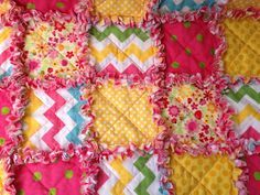 Modern Rag Quilt Small Baby Crib Size 42 X by funkybugboutique