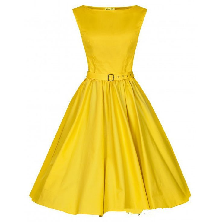 Yellow Belted Vintage Dress