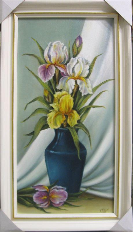 Ирисы в синей вазе (холст,масло,30х60)-художник Ядвига Сенько