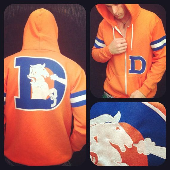 LIMITED * The Throwback Varsity Denver Broncos Hoodie by Frozen Kiss Custom Sewn fabric retro graphics