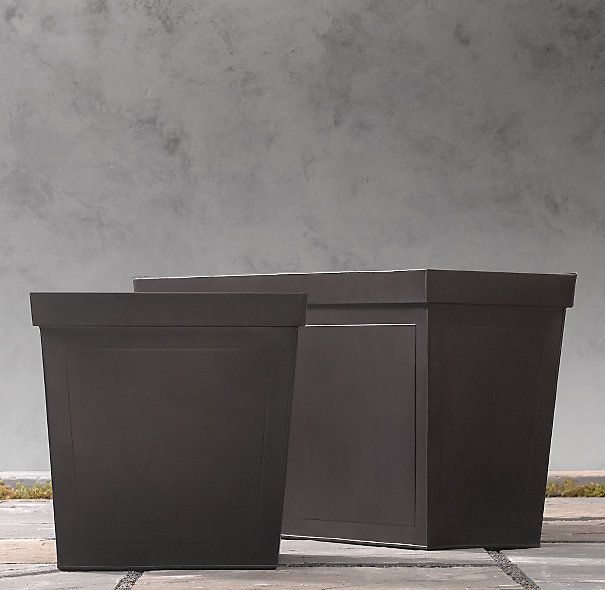 Rh Paneled Sheet Metal Cube Planters 215 Trough Overall