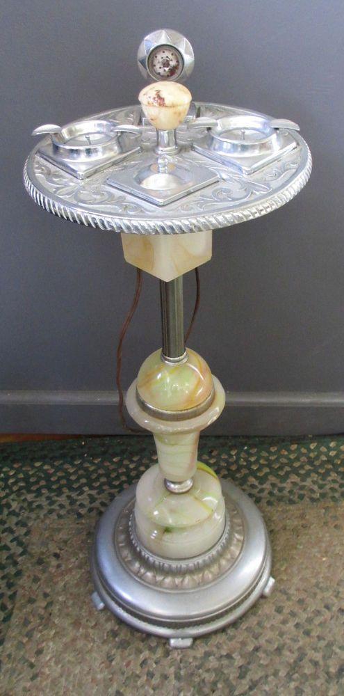 Vintage Art Deco Slag Glass Smoke Stand Ashtray Lighter