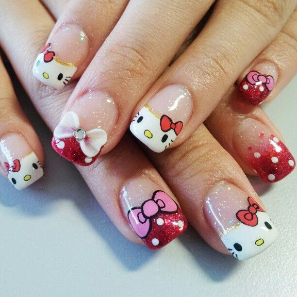 Hello kitty nails. cute nail art. freehand nail art.