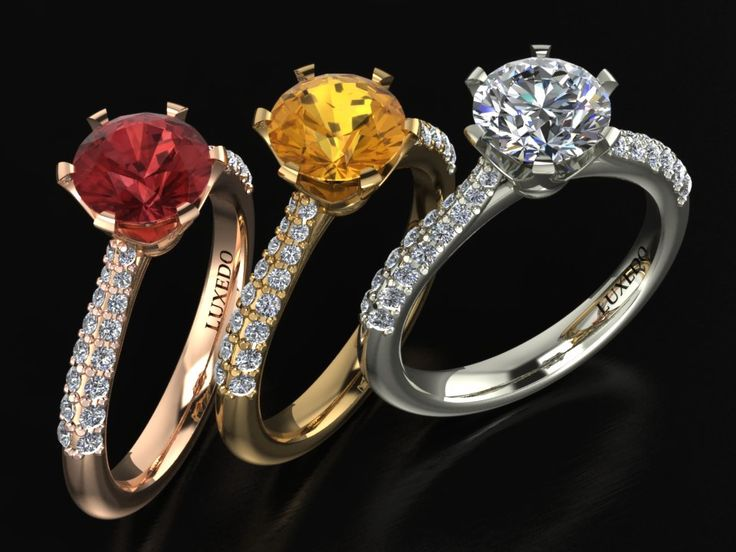 Customizable setting for precious gemstones and diamonds engagement rings from Luxedogems.com