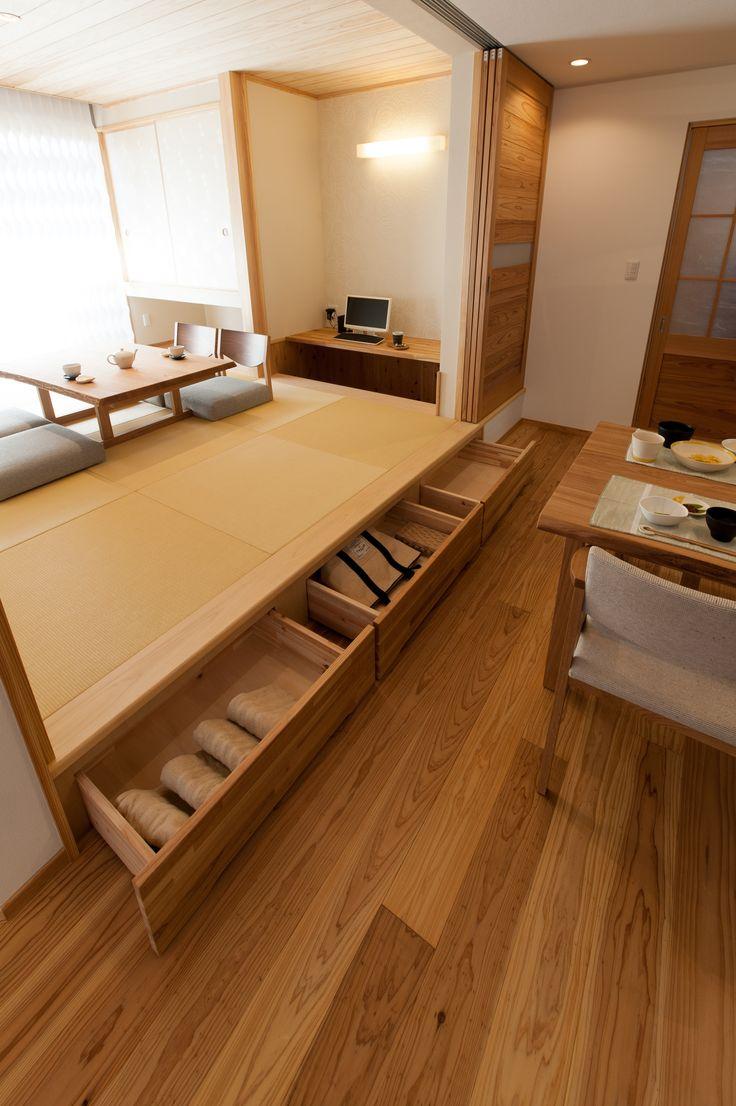 小上がりの畳スペースには収納を設けました。 #畳#収納