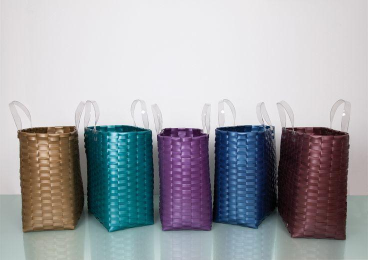 Metallic Woven Strap Shoppers