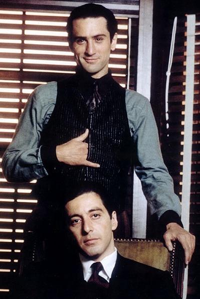 Robert De Niro and Al Pacino on the set of The Godfather Part II