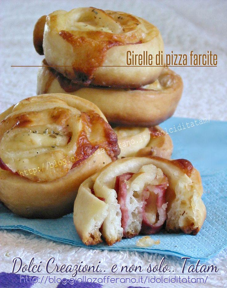Girelle di pizza farcite | ricetta facile e veloce | stuzzichini