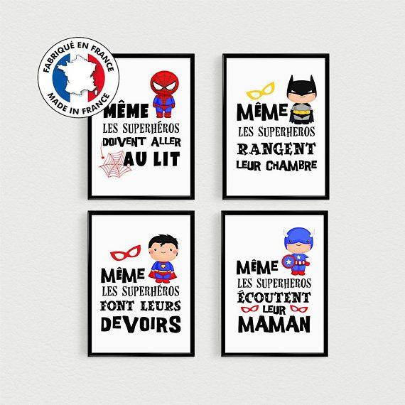 Parodie humoristique (caricature) pour enfant avec des super-héros. PROMOTION !!! 🎁 Lot de 4 POSTERS citations de super héros Même les superhérosdoivent aller au lit, Même les superhéros rangent leur chambre, Même les superhéros font leurs devoirs, Même les superhéros écoutent