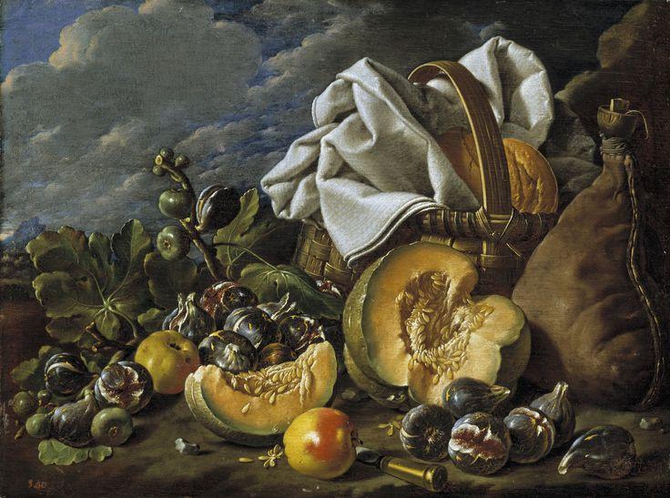 Luis Egidio Melendez, Still-Life: squash, figs, wine, and basket boot, late 18th century
