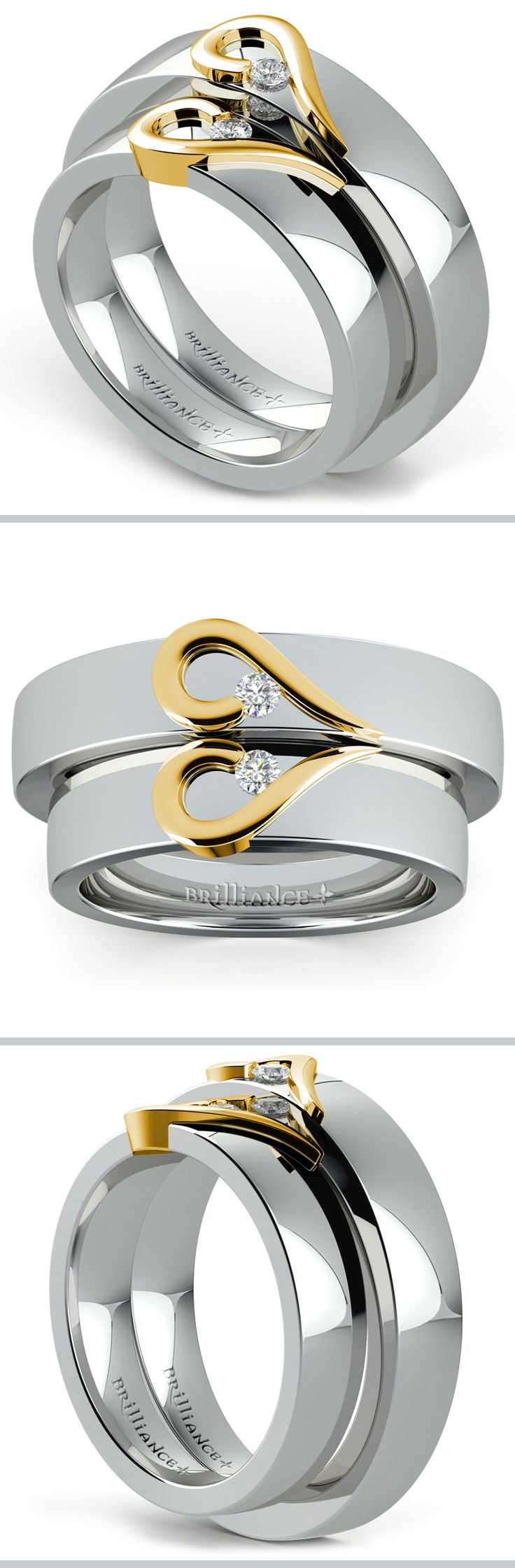 This wedding set features matching his and hers 3.5 mm bands in white gold, each with a curled half-heart design in 14k yellow gold and accented by a diamond for one-twelfth total weight.