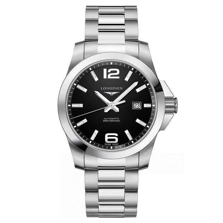 L37784586 Ανδρικό αυτόματο ρολόι LONGINES Conquest με μπρασελέ, μαύρο καντράν & ημερομηνία | Ρολόγια LONGINES - Κοσμηματοπωλείο ΤΣΑΛΔΑΡΗΣ στο Χαλάνδρι #conquest #classic #longines #ρολόγια