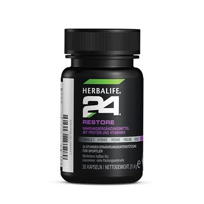 Restore contient 150 mg de Lactium®, un peptide bioactif unique, dérivé de la caséine. Restore contient également 100 % des VNR (Valeurs Nutritionnelles de Référence) en vitamine E qui contribue à protéger les cellules contre le stress oxydatif. Restore H24 est un complément alimentaire formulé pour le soutien nutritionnel nocturne.
