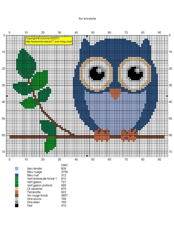 Blue owl on branch - free pattern