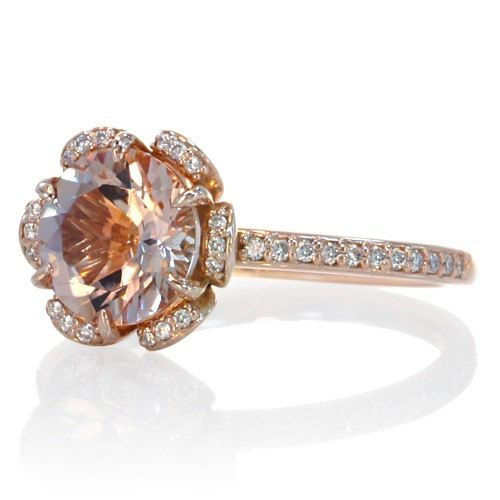 Rose Gold Morganite Ring 14K Diamond Halo Solitaire Morganite Engagement Ring