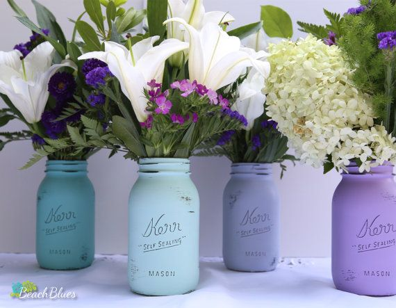 Turquoise and Purple Painted Mason Jars  Summer by BeachBlues, $28.00