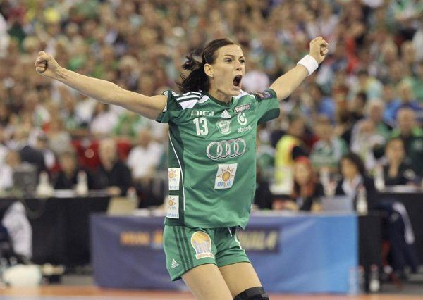Anita Gorbicz of Gyor Audi ETO KC after scoring during Gyor Audi ETO KC vs Buducnost Podgorica of Montenegro women's handball Champions League final match in Papp Laszlo Budapest Sportsarena, in Budapest, Hungary, 04 May 2014.