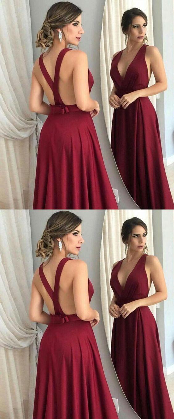 a20c25daa7 A-Line V-Neck Long Burgundy Prom Dresses Formal Evening Dresses  mdresses   prom  promdress  eveningdresses  fashion  longpromdress  burgundy