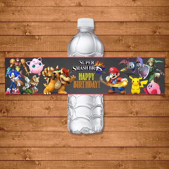 Water Bottle Zelda: Super Smash Brothers Drink Label -- Super Smash Brothers