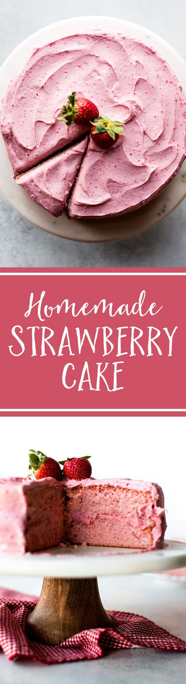 Sweet strawberry cake topped with strawberry frosting made with fresh strawberries! No artificial flavors. Homemade strawberry cake on sallysbakingaddiction.com