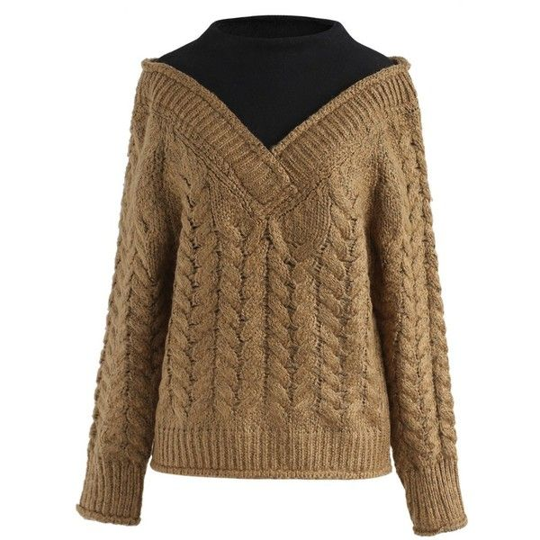 Chicwish Cozy Fizz Fake Two-Piece Cable Knit Sweater in Camel ($52) ❤ liked on Polyvore featuring tops, sweaters, brown, brown sweater, chunky cable knit sweater, faux sweater, chunky cable sweater and camel top