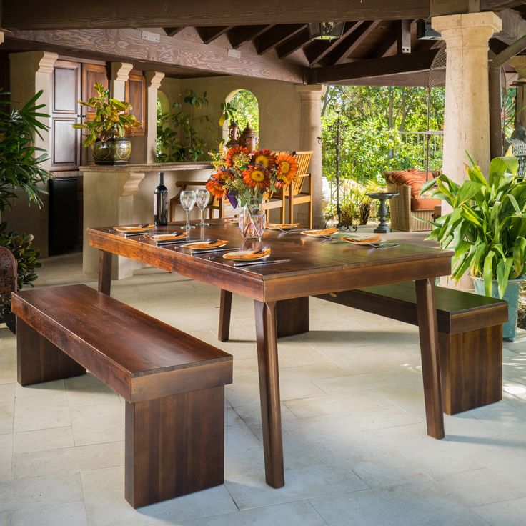 Salvador 3pc Mahogany Stained Wood Table and Bench Dining Set