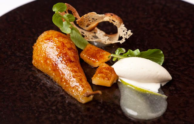 Adam Bennett lends a pear and Gorgonzola dish a quirky touch, using the cheese to make an ice cream