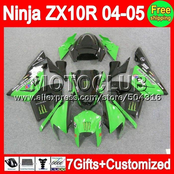 Зеленый черный 7 подарки + для KAWASAKI ниндзя ZX10R 04 - 05 2004 2005 завод зеленый C1921 ZX-10R ZX 10R ZX 10 R 04 05 зализа комплект